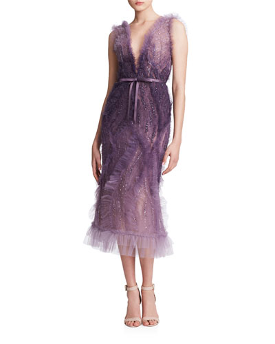 Ombre Tulle V-Neck Cocktail Dress