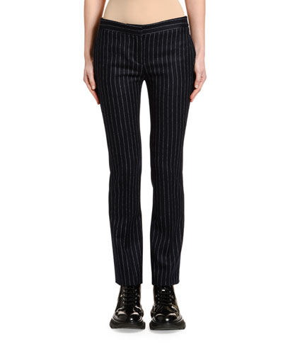 Pinstriped Flannel Boy-Cut Cigarette Pants