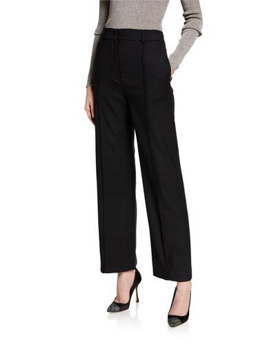 Wool Wide-Leg Cropped Pants