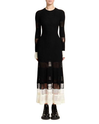 Ottoman-Knit Lace-Inset Dress