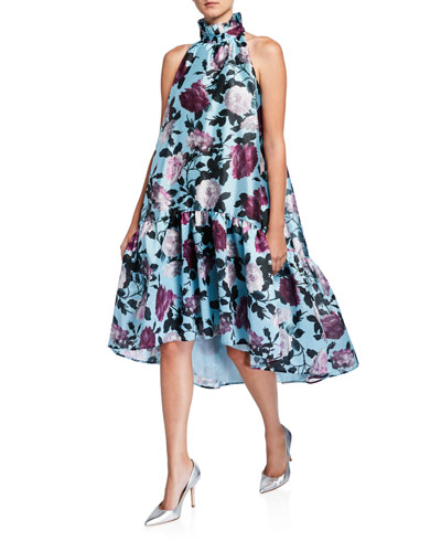 Belita Rose-Print Tiered Satin Dress