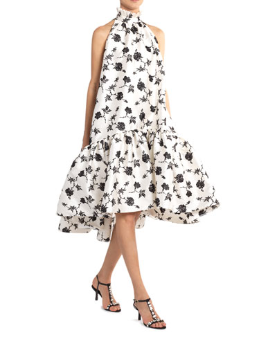 Belita Long Rose-Print Ruffled Dress