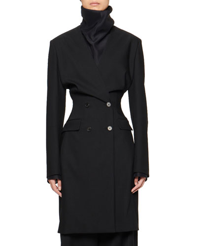 Medina Wool-Silk Double-Breasted Midi Coat