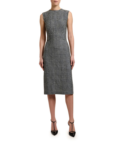 Ermanno Scervino Glen Plaid Crystal Embellished Sleeveless Sheath Dress