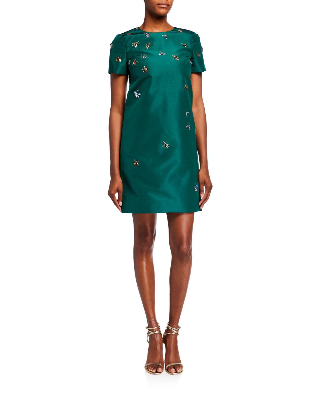 Carolina Herrera Dresses BUG-EMBROIDERED TAFFETA SHIFT DRESS