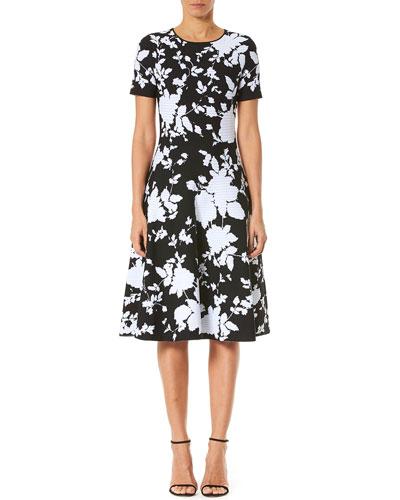 Floral Knit Short-Sleeve Dress