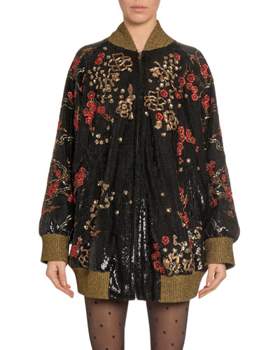 Oversized Floral-Embroidered Bomber Jacket