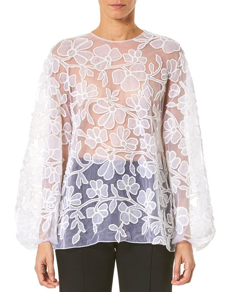 Carolina Herrera Embroidered-Lace Puff-Sleeve Blouse