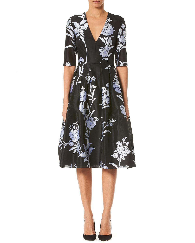 Carolina Herrera Dresses FLORAL JACQUARD TAFFETA V-NECK DRESS