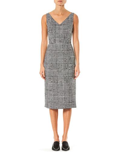 Sleeveless Plaid Wool-Silk Sheath Dress