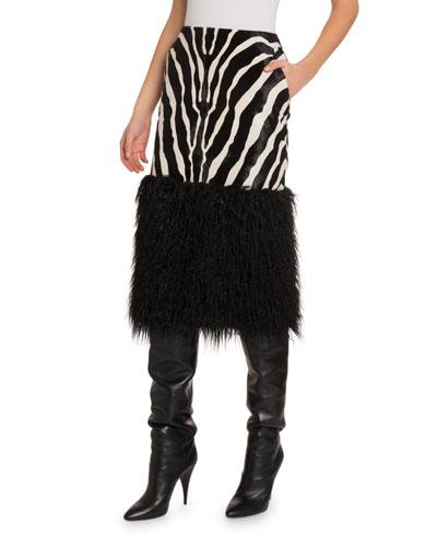 Zebra Midi Skirt with Faux-Fur Trim