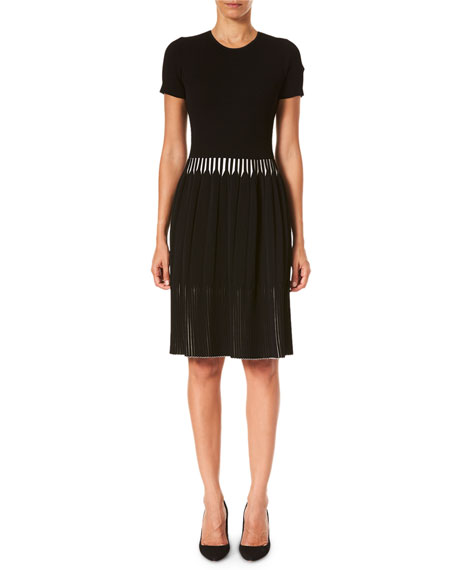 Carolina Herrera Pleated Short-Sleeve Dress