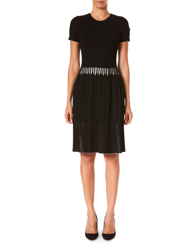 Pleated Short-Sleeve Dress