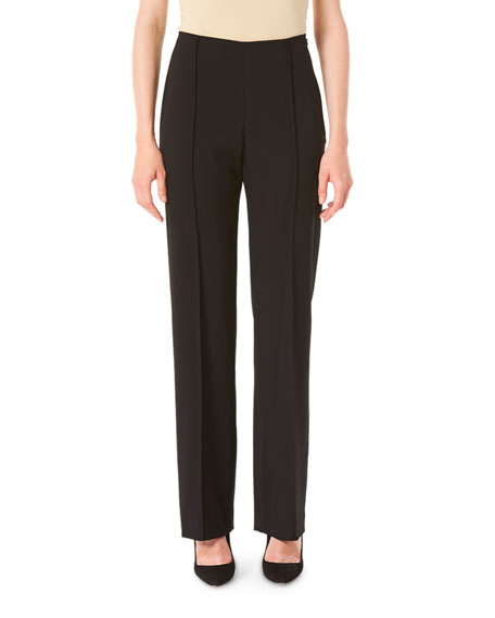 Carolina Herrera Icon Wide-Leg Wool Crepe Pants