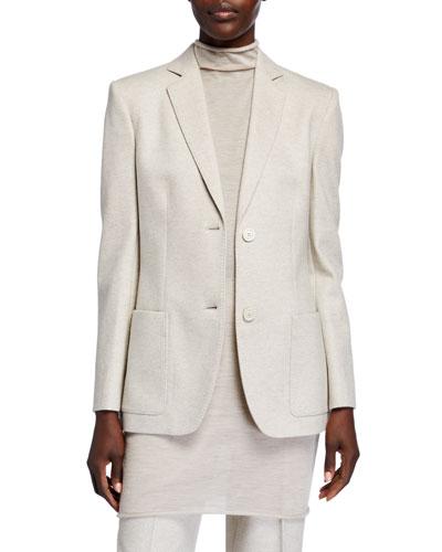 Wool-Cashmere Notched Collar Blazer