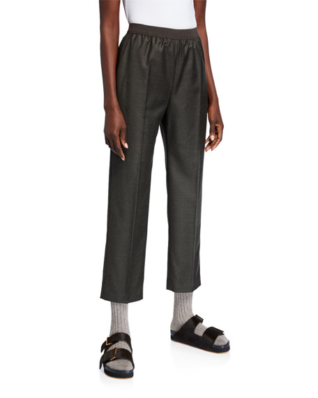 Agnona Wool-Cashmere Flannel Wide-Leg Sporty Pants