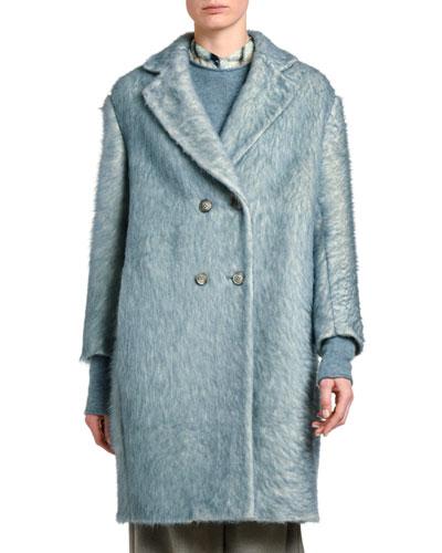 Painted Fuzzy Alpaca-Wool Coat