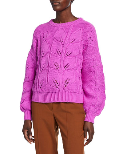 Salica Wool-Cashmere Woven-Leaf Sweater