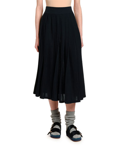 Cashmere Box-Pleated Pull-On Skirt