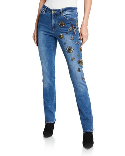J673 Embellished Stretch-Denim Jeans