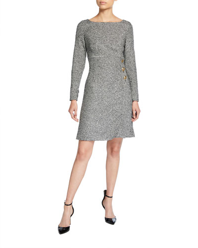 Mini Houndstooth Tweed Dress