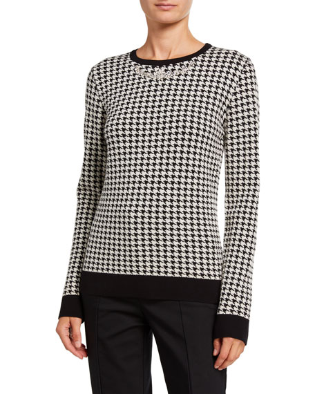 Sapiro Houndstooth Crewneck Sweater