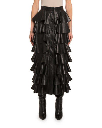Ruffle-Tiered Leather Button-Front Skirt
