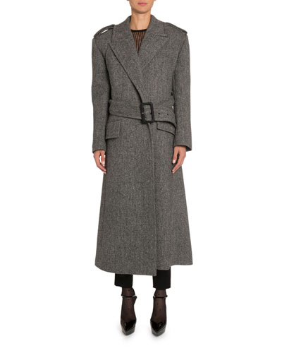Belted Chevron-Wool Coat