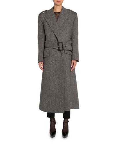 Belted Chevron-Wool Coat