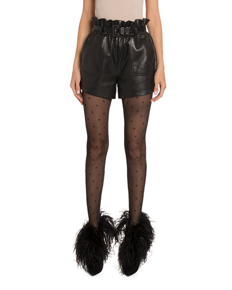 Saint Laurent High-Rise Belted Ruffle Leather Shorts