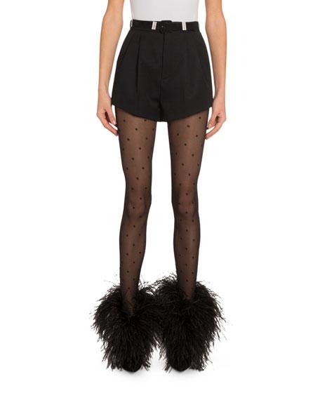 Saint Laurent High-Rise Wool Shorts