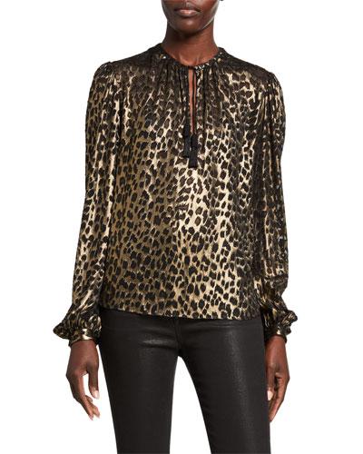 Leopard-Print Long-Sleeve V-Neck Blouse