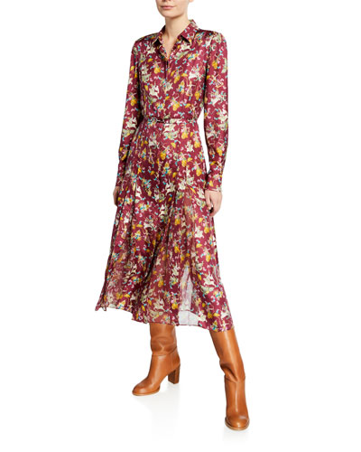 Jane Mythical Print Button-Front Long-Sleeve Belted Silk Shirtdress