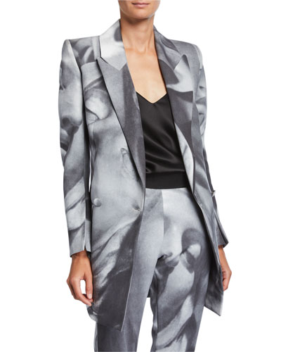 Belucci Face-Print Side-Tie Jacket