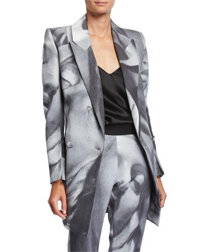 Belucci Face-Print Side-Tie Jacket