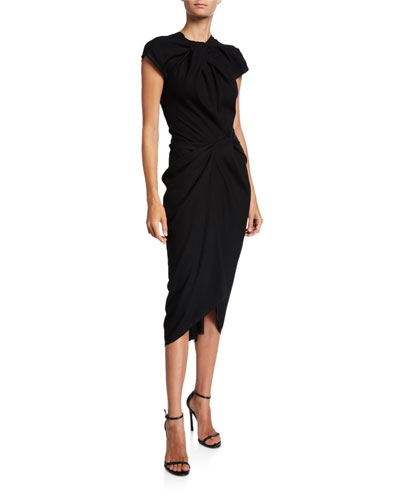 Glenda Ruched Cap-Sleeve Dress