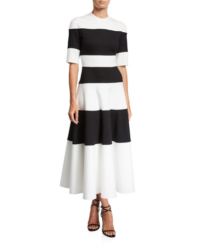 Adelia Wide-Striped Fit & Flare Cocktail Dress
