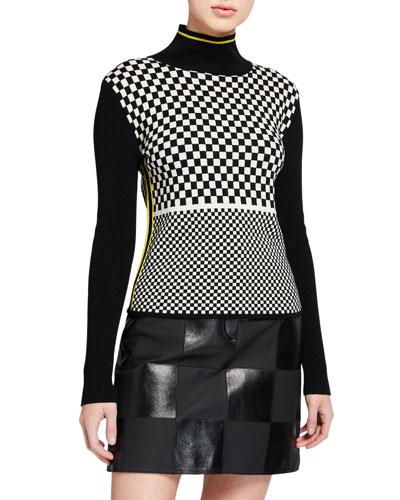 Scaevola Checkered Turtleneck Sweater