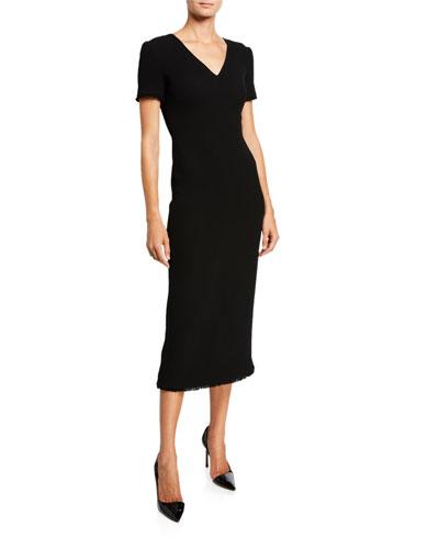 Wool Crepe Cap-Sleeve Sheath Dress