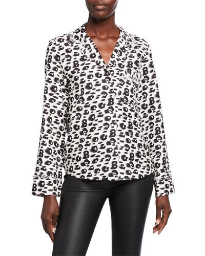 Leopard-Print Silk Pajama Top