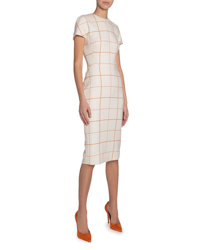 Checked Wool Sheath Dress