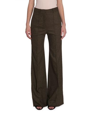 High-Rise Wide-Leg Flannel Pants