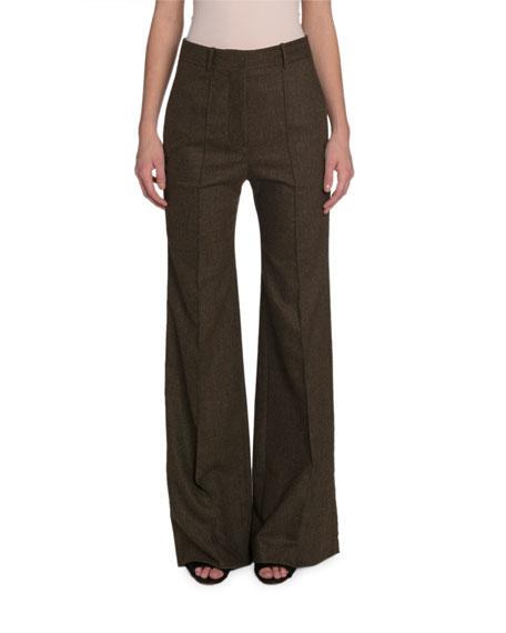 Victoria Beckham High-Rise Wide-Leg Flannel Pants