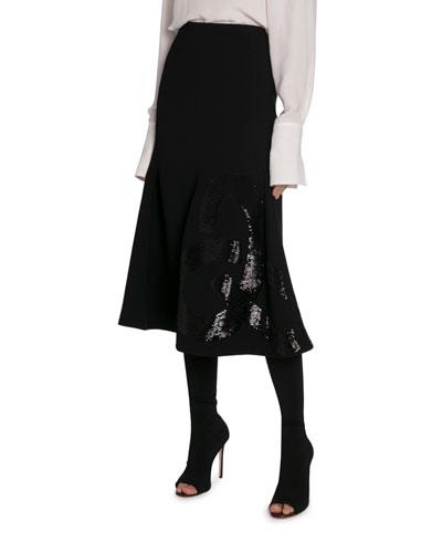 Sequin-Paneled Flare Midi Skirt