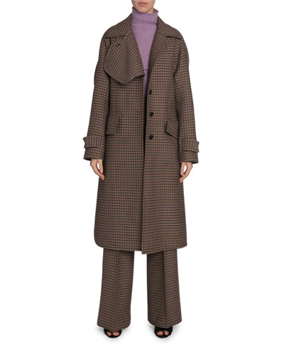 Checked Wool Felted Coat