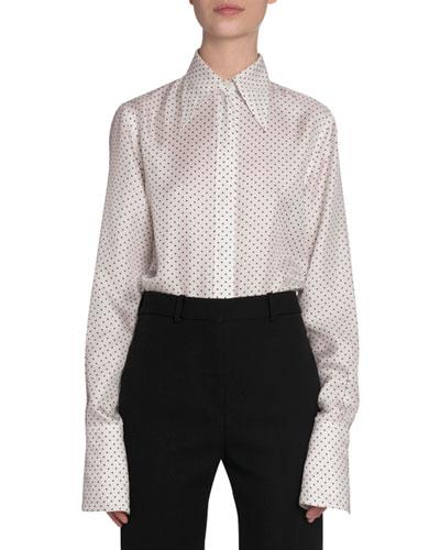 Polka-Dot Silk Button-Front Shirt