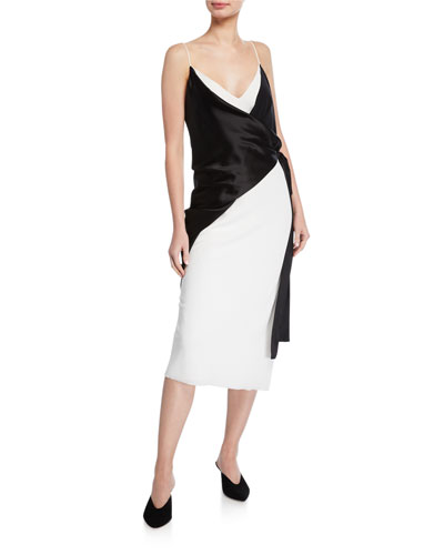Salome Sleeveless Trompe L'oeil Wrap Dress