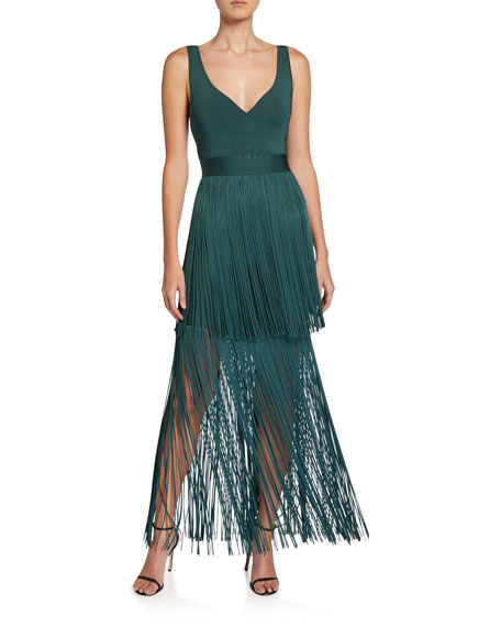Herve Leger Tiered Fringed V-Neck Gown