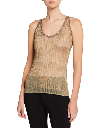 Shimmer Scoop-Neck Tank Top