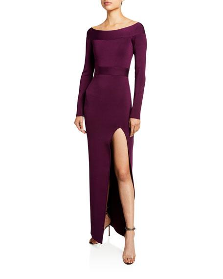 Herve Leger Off-the-Shoulder High-Slit Gown